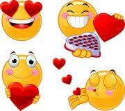 Set of Valentines smileys emoticons Royalty Free Stock Photo