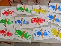 basteln mit meinen i-kindern Kinder Basteln Handabdruck Raupe Nimmersatt How A Pendulum Works to Kee Kids Crafts, Daycare Crafts, Summer Crafts, Toddler Crafts, Diy And Crafts, Paper Crafts, Spring Activities, Toddler Activities, Preschool Activities