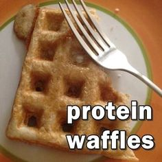 TWO RECIPES of protein waffles. Low carb, high protein and Also, no added sugar- but you'd never know. No Carb Recipes, Diabetic Recipes, Cooking Recipes, Waffle Recipes, Protein Powder Recipes, High Protein Recipes, Protein Snacks, Whey Protein, Keto