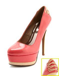 04b4a4db9f00 Strappy-Back Patent Platform Pump Charlotte Russe Shoes