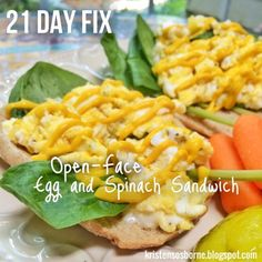 Open-Face Egg and Spinach Sandwich - 21 Day Fix Breakfast, Lunch, or Dinner - Quick and Kid-Friendly