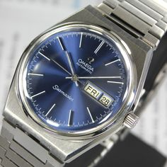 1970s Omega Seamaster Cal 1022 Automatic Blue Dial Day & Date Men's Dress Watch