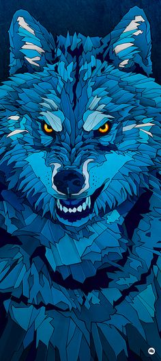 """""""Blue Wolf"""" illustration was the image for the Hurricane/Southside Festival, held in Germany last year. Wolf Illustration, Cartoon Drawings, Animal Drawings, Art Drawings, Wolf Wallpaper, Wallpaper Backgrounds, Wallpapers, Nike Wallpaper, Iphone Wallpaper"""