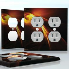 DIY Do It Yourself Home Decor - Easy to apply wall plate wraps | Demoralized Spirit  Black image with a yellow flash  wallplate skin sticker for 2 Gang Wall Socket Duplex Receptacle | On SALE now only $4.95
