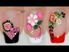 French Tip Nail Designs, Flower Nail Designs, Flower Nail Art, Colorful Nail Designs, French Tip Nails, Cute Nail Designs, French Tips, Pedicure Nail Art, Toe Nail Art