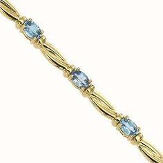 14K Yellow Gold & Blue Topaz Bracelet : JB2482YB