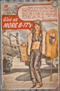 Today's pinup is another from the World War 2 Propaganda Pinup Poster series, this time featuring Kayla in a call for more B-17s! Being able to take punishment was an understatement for the Boeing B-17 Flying Fortress! The crew consisted of a Bombardier, Navigator, Pilot, Co-Pilot, Top Turret, Radio, Belly Gunner, Left Waist Gunner, Right Waist Gunner, and Tail Gunner. © Dietz Dolls Vintage Pinup Photography: http://www.dietzdolls.com || Facebook Fan Page…