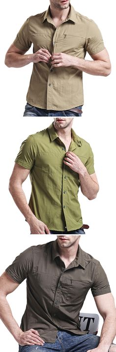 US$28.79 (47% OFF) Military Sleeves Loose Dress Shirts for Men:Quick Dry