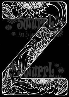 Inverted Monogram Letter Z Original Giclee Print of Pen by Swurrl, $12.00