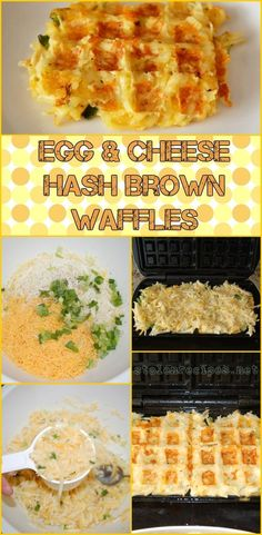 Hash brown potatoes are mixed with eggs and cheese and seasoning. The mixture is poured into a waffle iron and out comes Egg & Cheese Hash Brown Waffles. A creative way to serve eggs and hash browns together in one dish for breakfast. Quiche With Hashbrown Crust, Cheesy Potatoes With Hashbrowns, Hashbrown Waffles, Potato Waffles, Hashbrown Breakfast Casserole, Potatoe Casserole Recipes, Breakfast Hash, Breakfast Potatoes