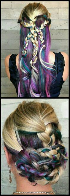 Purple mixed blonde brauded dyed hair @butterflyloftsalon
