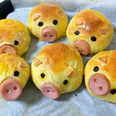 Pig sausage bread (Baking With Kids) Cute Food, Good Food, Yummy Food, Sausage Bread, Snacks Für Party, Party Appetizers, Appetizer Recipes, Party Fingerfood, Food Decoration
