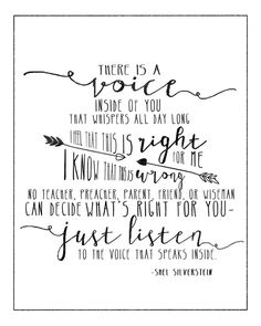 The Voice by Shel Silverstein. 8x10 and 5x7 prints. #art #sale #decor #love #quote