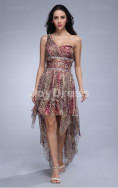 cocktail dresses for cheap  ,Leopard A-line One Shoulder Asymmetrical Dress,
