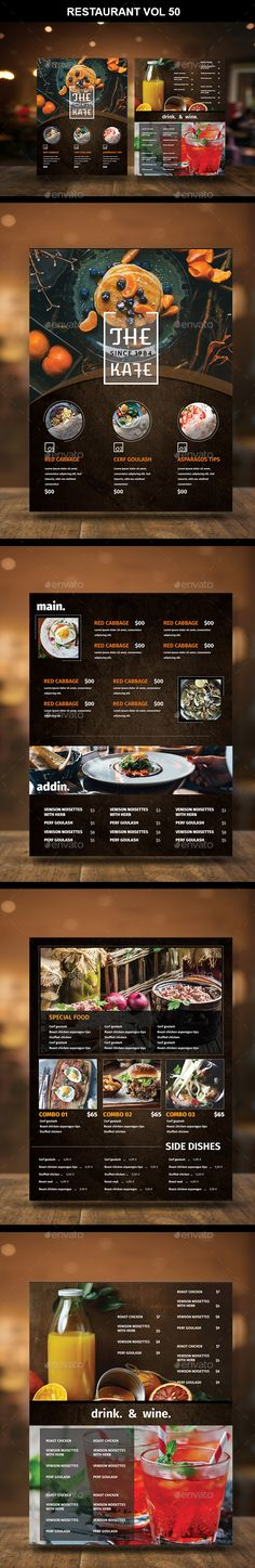 Buy Restaurant Menu Vol 50 by TuanCFS on GraphicRiver. - 4 page for menu template inch) - The design all have bleed, so it ready to pr. Food Menu Template, Restaurant Menu Template, Restaurant Menu Design, Restaurant Recipes, Menu Templates, Flyer Template, Pizza Flyer, Pizza Menu, Menu Flyer