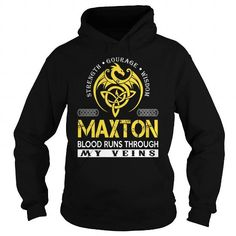 I Love MAXTON Blood Runs Through My Veins (Dragon) - Last Name, Surname T-Shirt T shirts