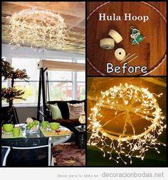 Lámpara de araña DIY con hula hoop y luces para decorar salón de bodas