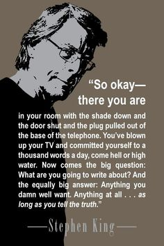 """Be authentic in writing. Advice from Stephen King from his brilliant book """"On Writing: A Memoir of the Craft. Book Writing Tips, Writing Words, Writing Process, Writing Help, Writing Skills, Quotes About Writing, Writing Quotes Inspirational, Memoir Writing, Fiction Writing"""
