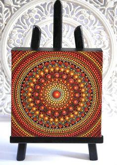 Hand-painted canvas 20 x 20 cm unique decoration spiritual Dot Art Painting, Mandala Painting, Mandala Canvas, Mandala Art, Positive Energie, Hand Painted Canvas, Big Canvas, Mandala Pattern, Stone Art