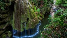 Bigar Waterfall in Nature Reserve, Romania - One look at this waterfall and you'll see why traveling to it is a must. The stream falls from a cliff onto the moss, which makes the water fall in the interesting patterns you see Landscape Wallpapers, Places To Travel, Places To See, Travel Destinations, Terre Nature, Cascade Falls, Beautiful Places, Beautiful Pictures, Beautiful Scenery
