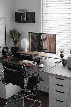 Gaming Room Setup, Computer Setup, Home Office Setup, Home Office Design, White Desk Setup, Minimal Desk, Workspace Desk, Imac Desk, Bedroom Setup