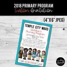 I am a Child of God, Primary Program. Custom Color Invitation from HeyFriendDesignShop on Etsy. Primary Program, Temple City, Little Designs, Latter Day Saints, Programming, Etsy Seller, Child, Invitations, God