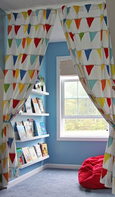 Reading Nook  Reclaim wasted space and transform it into an awesome reading nook with floating bookshelves and curtains!
