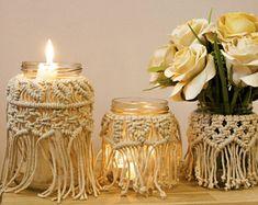 Macramé pot, Vase en macramé, décor de Noël, en macramé Candle Holder, Vasewrap, maison rustique Décor, Décor en macramé, Boho maison, décoration de mariage