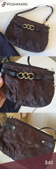 "Mini Coach bag/clutch Chocolate brown. No wear and tear. Like new condition. ""6""x8.5"" Coach Bags"