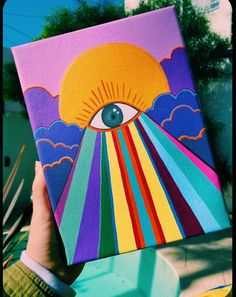 Simple Canvas Paintings, Easy Canvas Art, Small Canvas Art, Mini Canvas Art, Acrylic Painting Canvas, Hippie Painting, Trippy Painting, Painting & Drawing, Tableau Pop Art