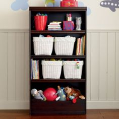 "Flat Top Bookcase, 60"" (Espresso) http://www.landofnod.com/kids-bookcases/kids-storage-and-shelving/flat-top-bookcase-60-espresso/f8148"