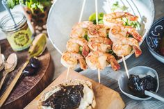 A healthy option for any meal - from breakfast to dinner, everyday to party. Date Recipes, Healthy Options, Skewers, Preserves, Shrimp, Bread, Meals, Dinner, Breakfast