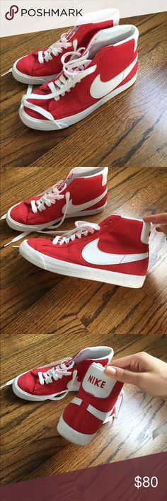 BRAND NEW nike shoes Red sneakers from Nike - worn literally twice  At some parts, the laces have gone a little red (because of the shoe) but they are washable! 😊 Nike Shoes Sneakers