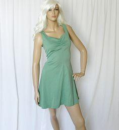 Vintage 60s Mini Dress S Sage Green Puff Sleeve by PopFizzVintage, $37.00