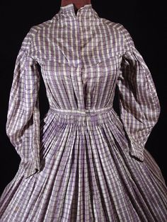 purple check gown