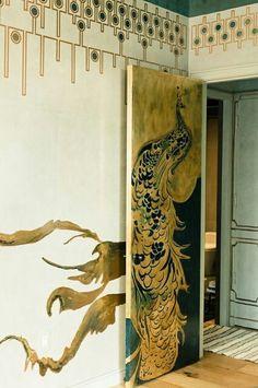 *Chosen for another art deco element wall paper with the use of two of the most elegant colors- black & gold.