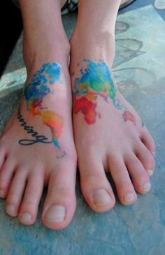 colorful map tattoo design on leg - Design of TattoosDesign of Tattoos