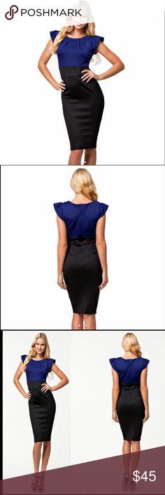 "🆕 Puff sleeves pencil midi blue and black dress Puff sleeves pencil midi blue and black dress, cotton poly spandex mix, size XLarge ( armp to armp 19"", waist 16"", length 38.5"" ). Dresses Midi"