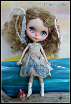 """BLYTHE DOLL Dress - OOAK - """"Petal Power"""" hand embroidered vintage linen with flower petal feature by CooeeChris on Etsy"""