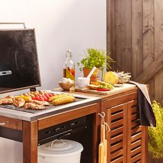 ÄPPLARÖ / KLASEN brown stained, Storage cabinet, outdoor - IKEA Outdoor Kitchen Countertops, Concrete Countertops, Homemade Hummingbird Food, Charcoal Bbq Grill, How To Clean Bbq, Wood Storage Cabinets, O Gas, Grill Accessories, Barbecue