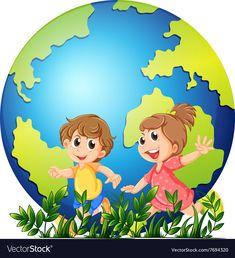 Cartoon kids holding pencil vector image on