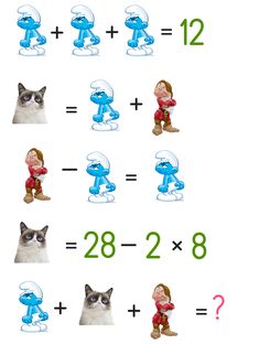 Can you solve the cartoon puzzle ? Puzzle ID - 1061 Math For Kids, Puzzles For Kids, Fun Math, Math Games, Brain Teasers Pictures, Brain Teasers Riddles, Brain Teaser Questions, Reto Mental, Logic Math