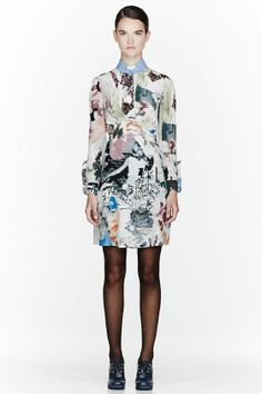 CARVEN Green & White Collage Dress for women | SSENSE