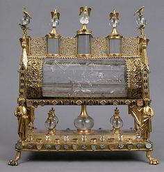 Reliquary; Date: ca. 1175–1200 (rock crystal) with early 19th century setting Geography: Made in France (?) Culture: French (?) Medium: Gilded copper, rock crystal, glass, and parchment