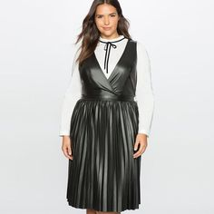 Black Plus Size Faux Leather Pleated Midi Dress
