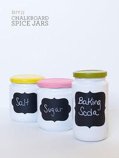 Turn old jars into baking storage with paint