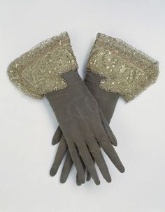 "1660s English Gloves at the Victoria and Albert Museum, London - From the curators' comments: ""As the 17th century progressed, the shape of gloves changed. The gauntlets became smaller and the length of the fingers shortened to more natural proportions. The embroidery is much denser than at the beginning of the 17th century, with a preference for metal thread over coloured silks."""