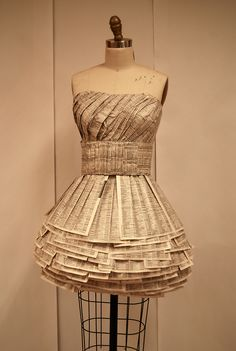 dress made out of phone book paper