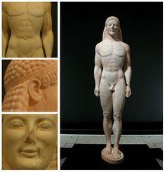 archaïsche beelden en glimlach: deze beelden zijn vaak naakte jongemannen  die niet veel anders doen dan staan. Het gezicht is altijd getrokken in een geforceerde grijns dit noemen ze Archaïsche glimlach
