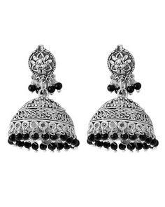 Earrings: Flamboyant Jhumkis Classic Floral Black